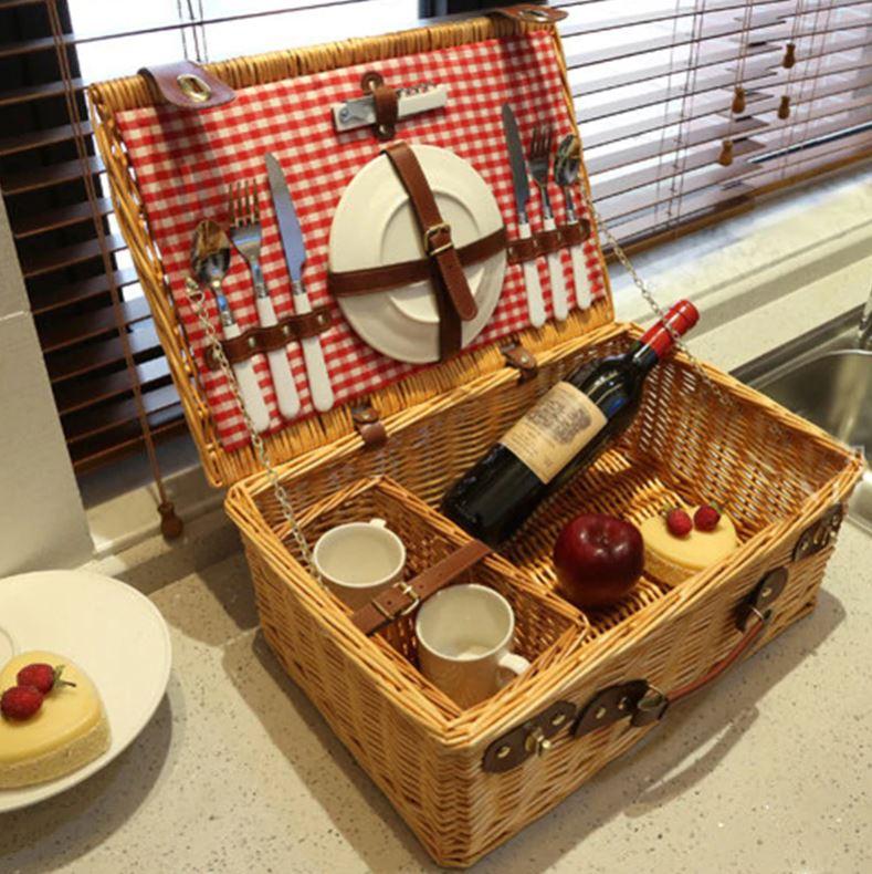 picknickmand riet 4 personen mand camping outdoor picnic bag handgemaakt handmade