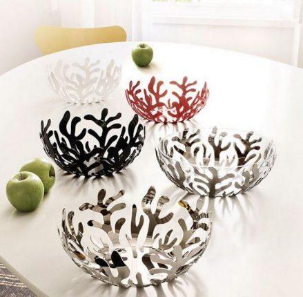 alessi schaal fruitschaal mediterraneo rvs roestvrij staal design ronde fruitschaal rvs rood wit italy review