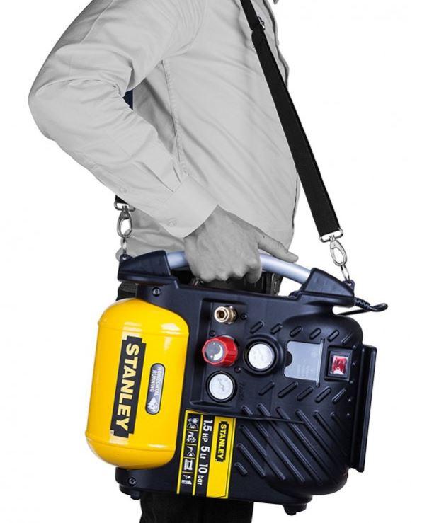 stanley compressor dn 200 10 bar airboss draagbare portable compacte compressor schouderriem review
