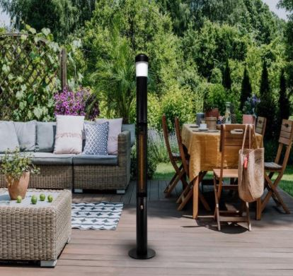 blumill infrarood staande terrasverwarmer en heater met bluetooth speaker en led verlichting livington heater alternatief