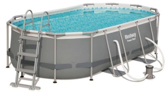 bestway power steel opzetzwembad ovaal met ladder en filterpomp